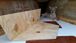 Plywood cut and pieced together for installation. Karma looking on in the background.