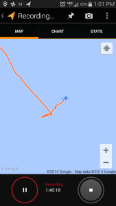 This shows the drift I made while I was hove-to.