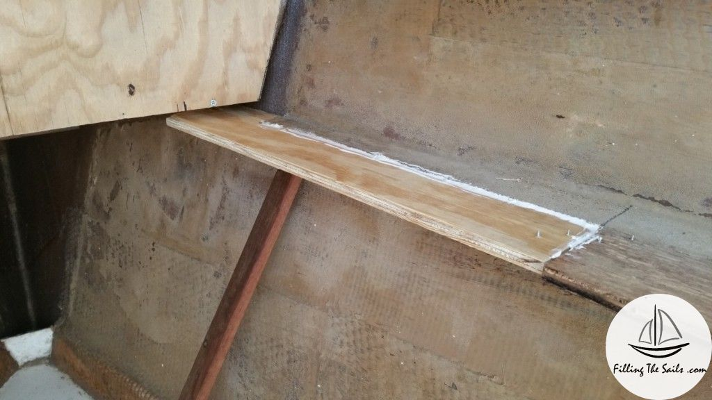 Repair joint between old shelf and new. Starboard v-berth.