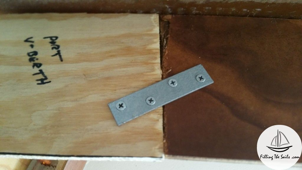 Repair joint between old shelf and new. View from underneath.